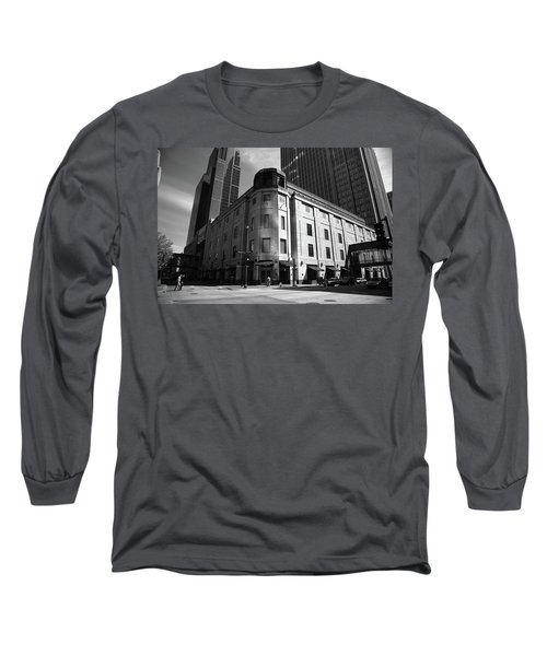 Long Sleeve T-Shirt featuring the photograph Minneapolis Downtown Bw by Frank Romeo