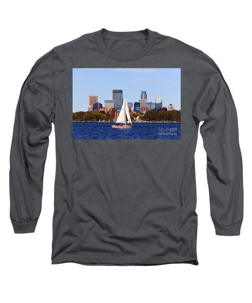 Minneapolis Skyline Lake Calhoun Sailing Long Sleeve T-Shirt