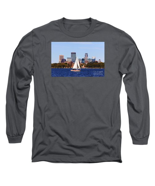 Minneapolis Skyline Lake Calhoun Sailing Long Sleeve T-Shirt