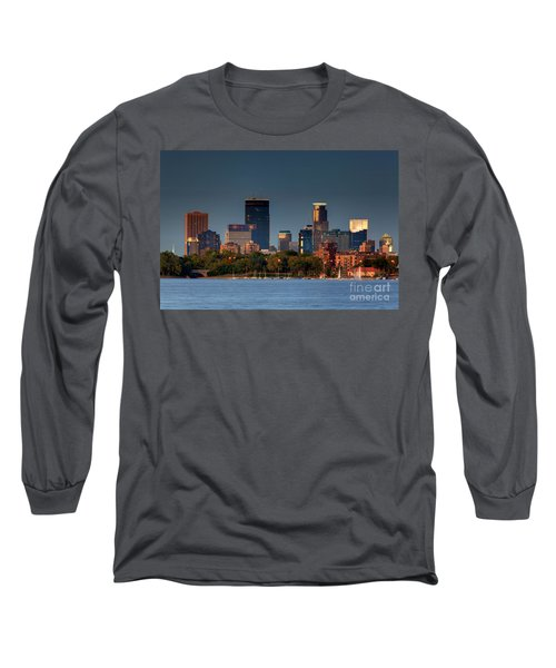 Minneapolis Skyline Photography Lake Calhoun Summer Evening Long Sleeve T-Shirt