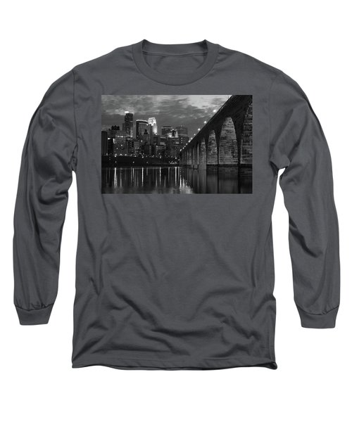 Minneapolis Stone Arch Bridge Bw Long Sleeve T-Shirt