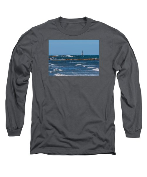 Minot Lighthouse Wave Crash Long Sleeve T-Shirt by Brian MacLean