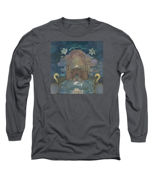 Long Sleeve T-Shirt featuring the painting Mission Santa Barbara by Andrew Batcheller
