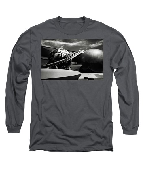 Mission Space Black And White Long Sleeve T-Shirt by Eduard Moldoveanu