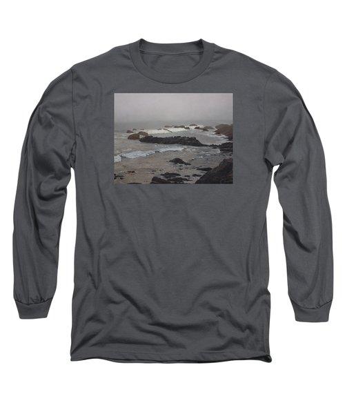 Misty Morning At Ragged Point, California Long Sleeve T-Shirt by Barbara Barber