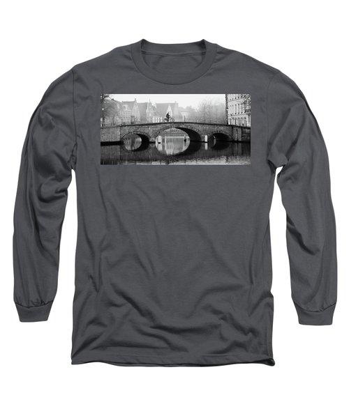 Misty Morning In Bruges  Long Sleeve T-Shirt