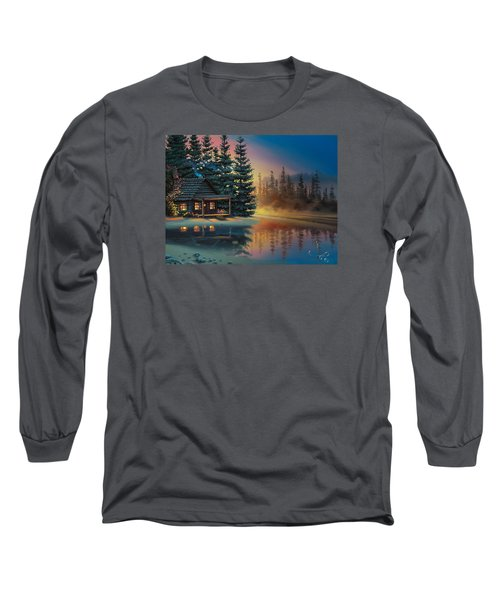 Long Sleeve T-Shirt featuring the painting Misty Refection by Al Hogue