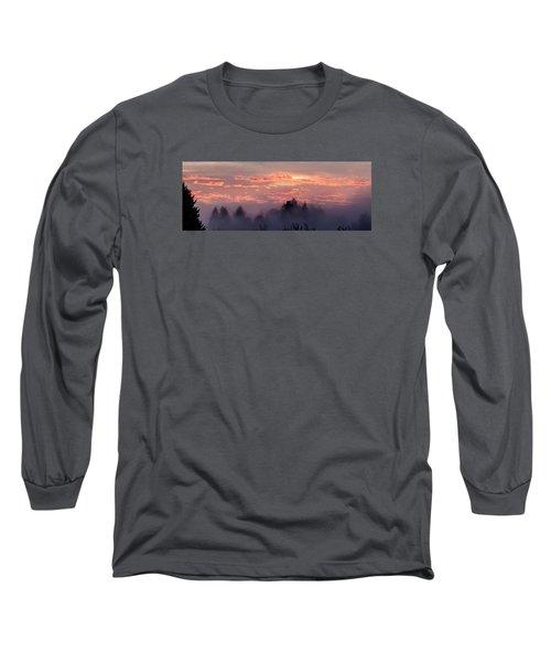 Misty Sunrise Panorama Long Sleeve T-Shirt by E Faithe Lester