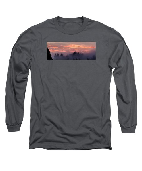 Misty Sunrise Panorama Long Sleeve T-Shirt