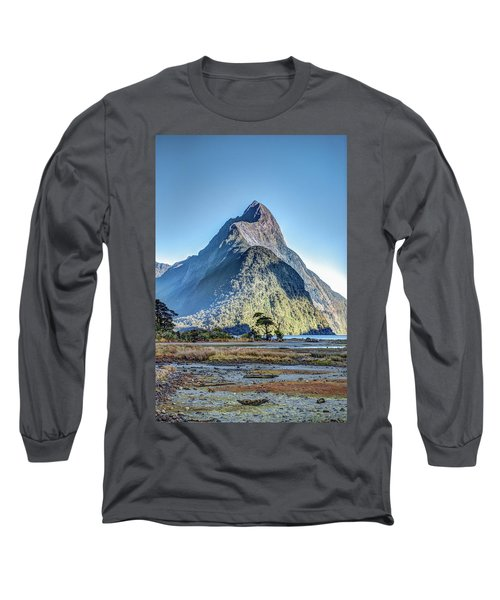 Long Sleeve T-Shirt featuring the photograph Mitre Peak At Low Tide by Gary Eason