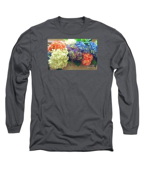 Long Sleeve T-Shirt featuring the photograph Mixed Hydrangea by Merton Allen