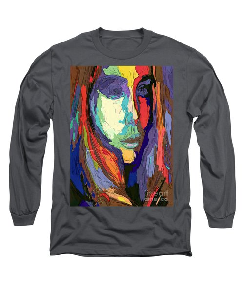 Long Sleeve T-Shirt featuring the digital art Modern Impressionist Female Portrait by Rafael Salazar