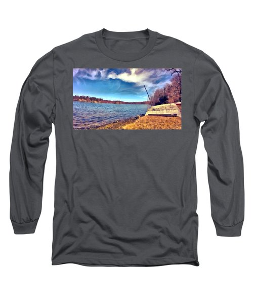 Long Sleeve T-Shirt featuring the painting Mohegan Lake Lonely Boat by Derek Gedney