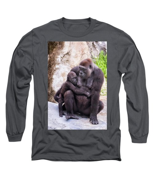 Mom And Baby Gorilla Sitting Long Sleeve T-Shirt by Stephanie Hayes