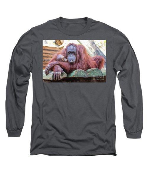Mom And Baby Orangutan Long Sleeve T-Shirt
