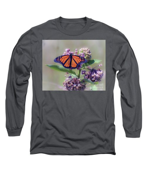 Long Sleeve T-Shirt featuring the photograph Monarch On The Milkweed by Kerri Farley
