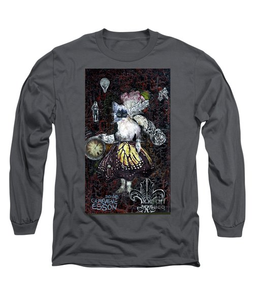 Long Sleeve T-Shirt featuring the mixed media Monarch Steampunk Goddess by Genevieve Esson