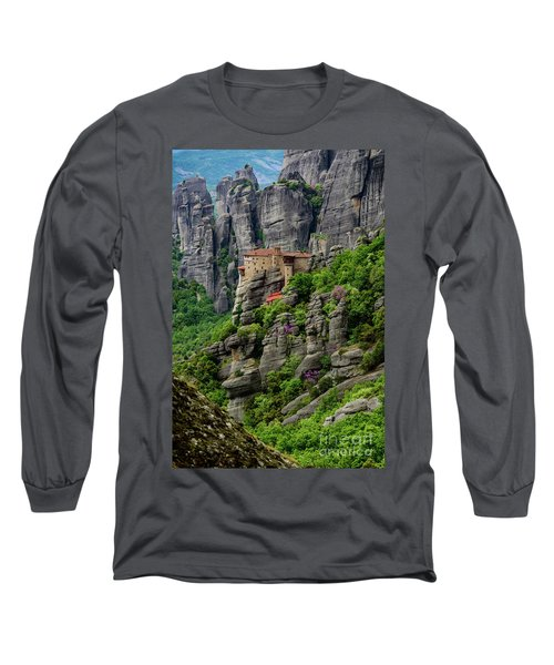 Monastery Of Saint Nicholas Of Anapafsas, Meteora, Greece Long Sleeve T-Shirt