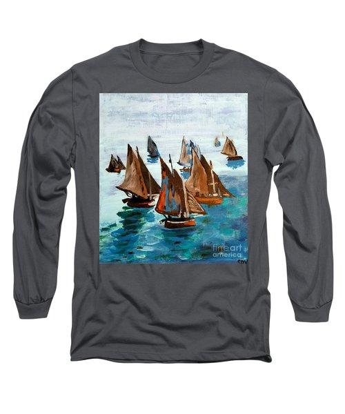 Monet Fishing Boats Calm Seas Long Sleeve T-Shirt by Scott D Van Osdol