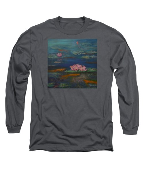 Monet Inspired Water Lilies With Gold Fish In A Pond Long Sleeve T-Shirt