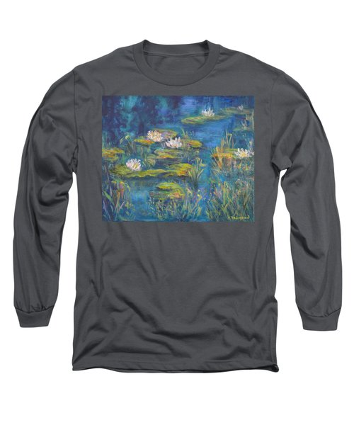 Monet Style Water Lily Marsh Wetland Landscape Painting Long Sleeve T-Shirt
