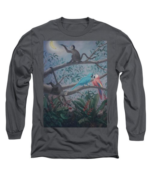 Monkey Artist Painting The Moon  Long Sleeve T-Shirt