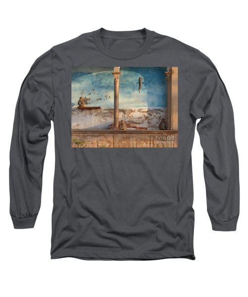 Long Sleeve T-Shirt featuring the photograph Monkeys At Sunset by Jean luc Comperat