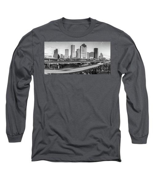 Monochrome Panorama Of Downtown Houston Skyline From Buffalo Bayou Park - Harris County Houston Texa Long Sleeve T-Shirt