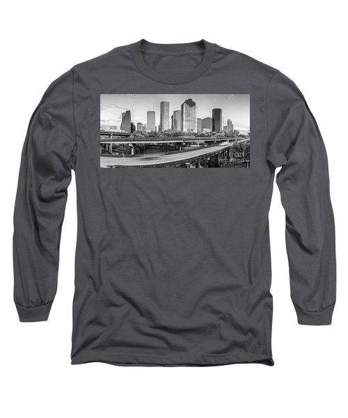 Monochrome Panorama Of Downtown Houston Skyline From Buffalo Bayou Park - Harris County Houston Texa Long Sleeve T-Shirt