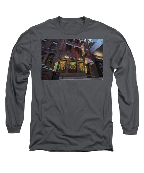 Long Sleeve T-Shirt featuring the photograph Monroe St Steakhouse by Nicholas Grunas
