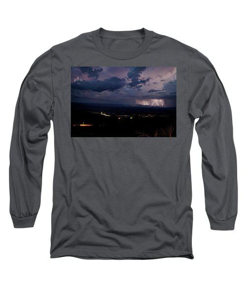 Long Sleeve T-Shirt featuring the photograph Monsoon Lightning Over Sedona From Jerome Az by Ron Chilston