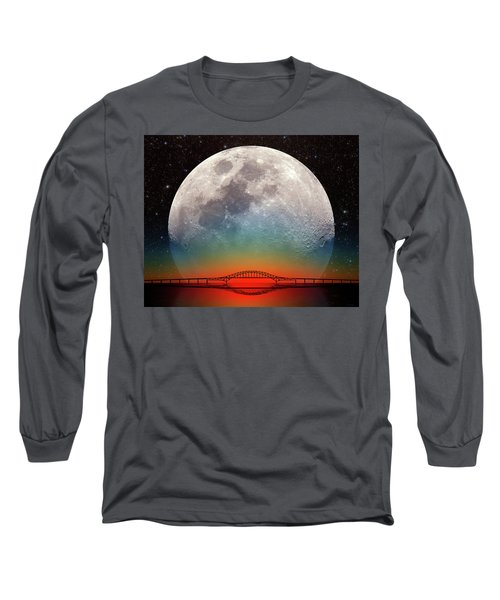 Long Sleeve T-Shirt featuring the photograph Monster Moonrise by Larry Landolfi