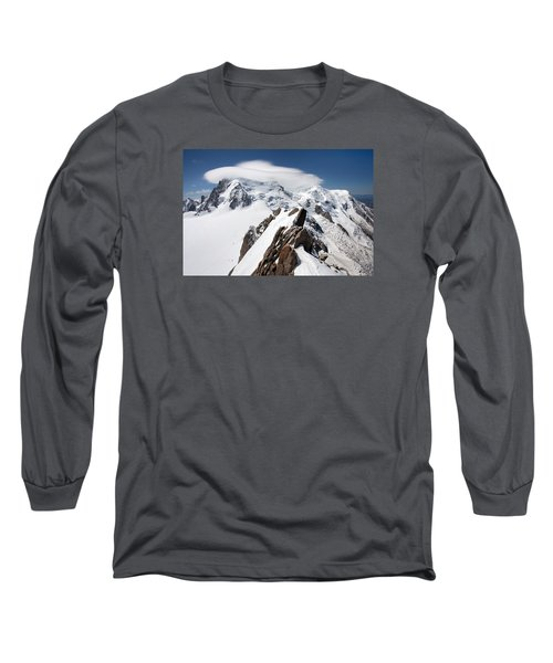 Mont Blanc And Ufo Long Sleeve T-Shirt by Aivar Mikko