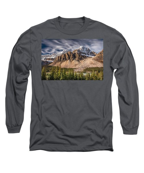 Mont Crowfoot On The Icefield Parkway Long Sleeve T-Shirt by Pierre Leclerc Photography