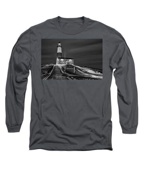 Long Sleeve T-Shirt featuring the photograph Montauk Point Lighthouse Bw by Susan Candelario