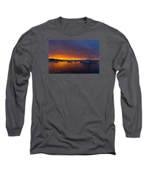 Monterey Marina Sunset Long Sleeve T-Shirt by Derek Dean