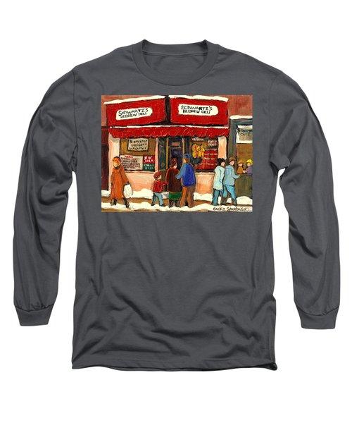 Montreal Hebrew Delicatessen Schwartzs By Montreal Streetscene Artist Carole Spandau Long Sleeve T-Shirt