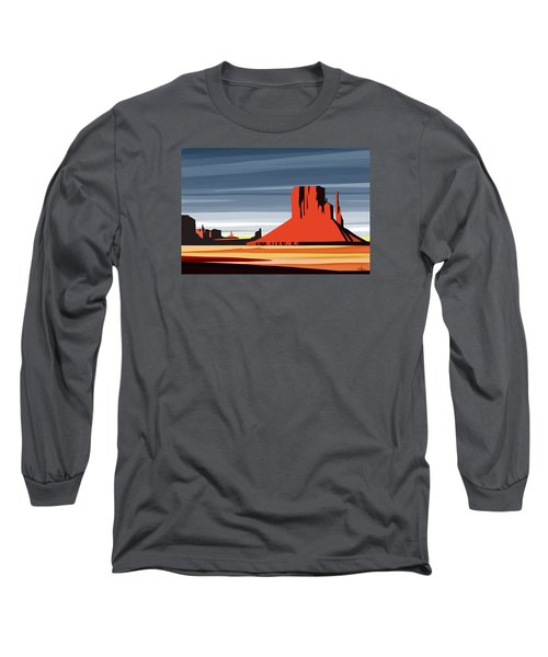 Monument Valley Sunset Digital Realism Long Sleeve T-Shirt