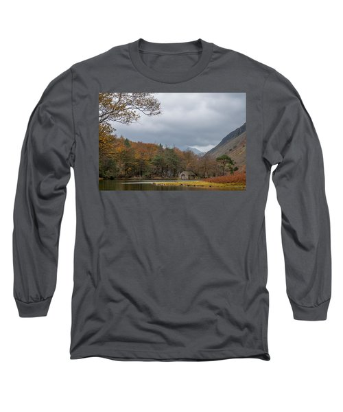 Moody Clouds Over A Boathouse On Wast Water In The Lake District Long Sleeve T-Shirt