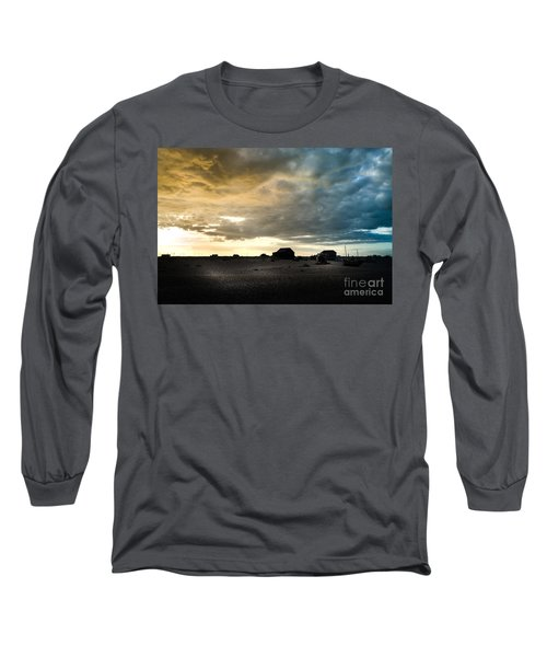 Moody Sky, Dungeness Beach  Long Sleeve T-Shirt