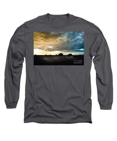 Moody Sky, Dungeness Beach  Long Sleeve T-Shirt