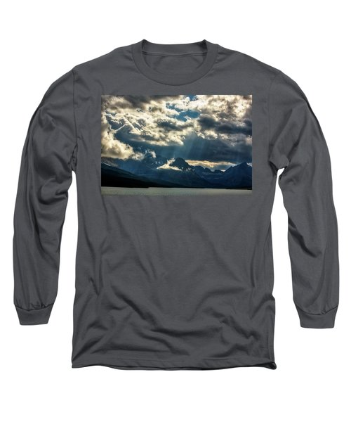 Moody Sunrays Over Glacier National Park Long Sleeve T-Shirt