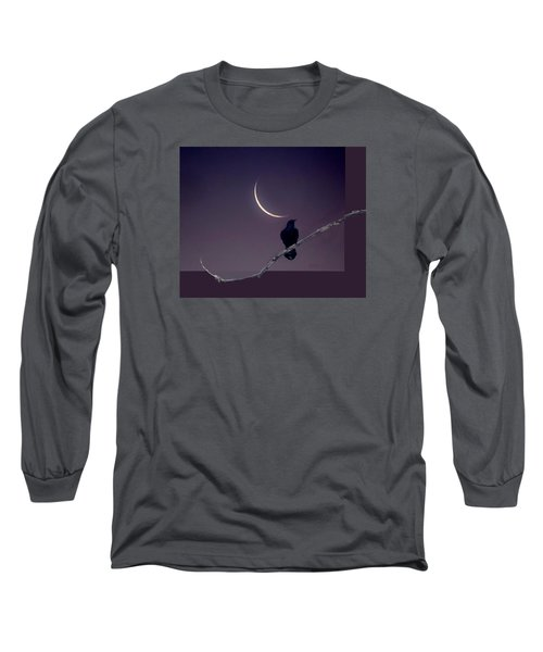 Moon And Raven Abstract Long Sleeve T-Shirt