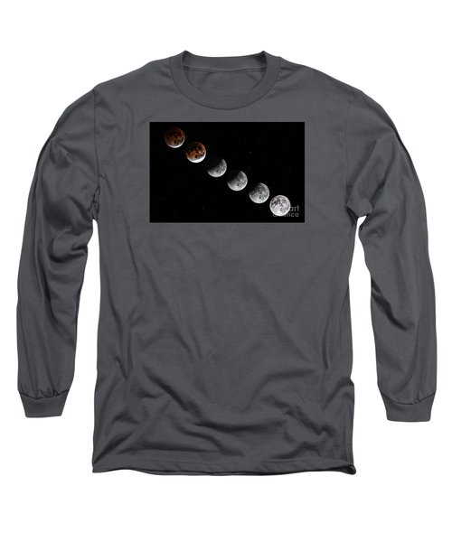 Moon Eclipse 2015 Long Sleeve T-Shirt by Shirley Mangini