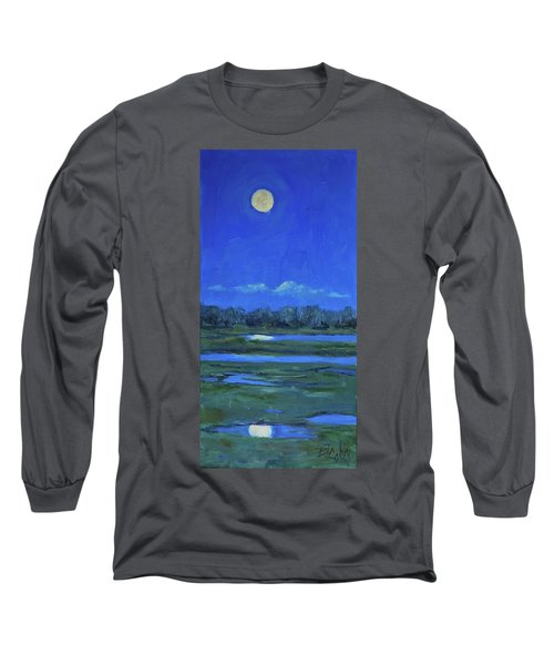 Long Sleeve T-Shirt featuring the painting Moon Light And Mud Puddles by Billie Colson