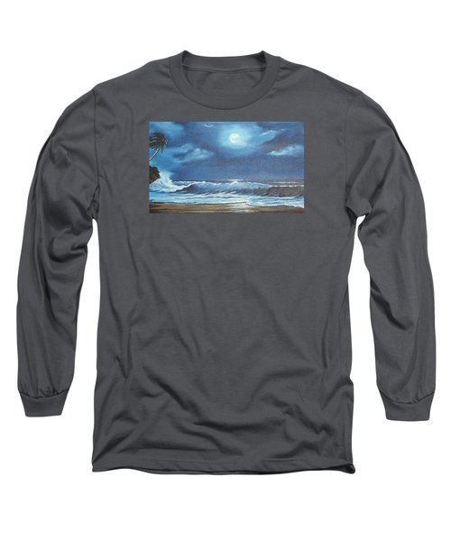 Moon Light Night In Paradise Long Sleeve T-Shirt by Lloyd Dobson