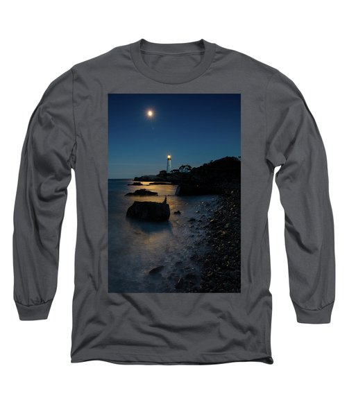 Long Sleeve T-Shirt featuring the photograph Moon Light Over The Lighthouse  by Emmanuel Panagiotakis