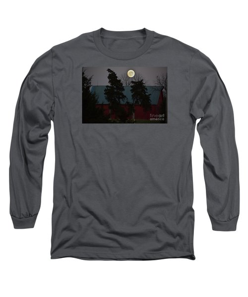 Moon Over A Kansas Barn Long Sleeve T-Shirt