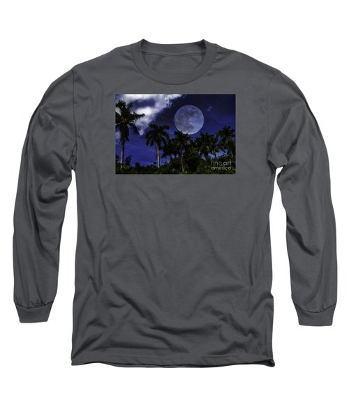 Moon Over Belize Long Sleeve T-Shirt by Ken Frischkorn
