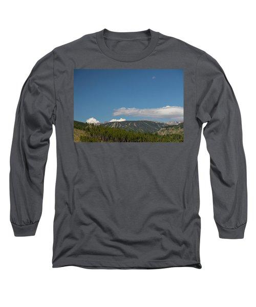 Long Sleeve T-Shirt featuring the photograph Moon Over Eldora Summer Season Ski Slopes by James BO Insogna